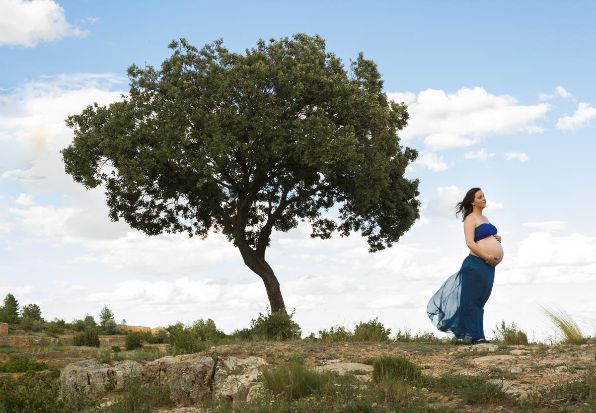 sesión de embarazo entre olivos